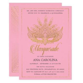 Elegant Pink Gold Glitter Masquerade Quinceañera