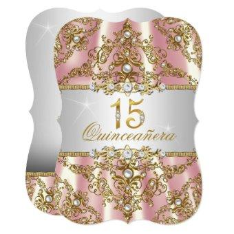 Elegant Pink Gold Pearl Damask Quinceanera Invitation