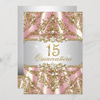 Elegant Pink Gold Pearl Damask Invite