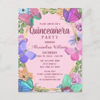 Elegant Pink Purple Floral Butterfly Quinceañera Post