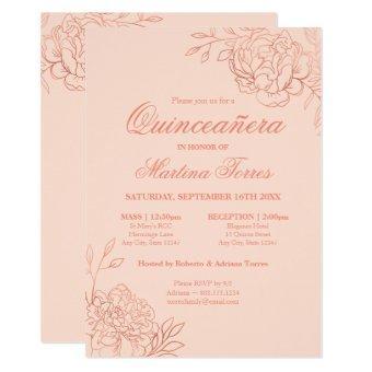 Elegant Pink Rose Gold Sketch Floral