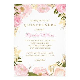 Quinceanera invitations beautiful and personalized quince aos elegant pink rose stopboris Gallery