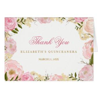 Quinceanera thank you cards quinceanera invitations quinceanera thank you cards elegant pink rose thank you stopboris Choice Image