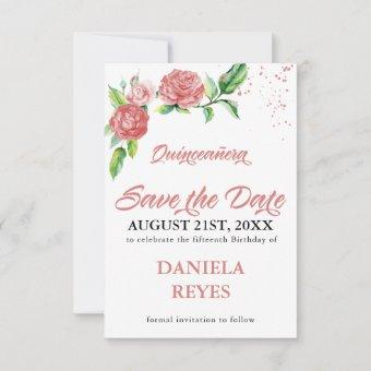 Elegant Pink Roses Watercolor Floral Save The Date