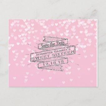 Elegant Pink Sweet 16 Birthday Save the Date Announcement Post