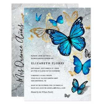 Elegant Princess Gold Blue Butterfly