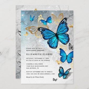 Elegant Princess Gold Blue Butterfly