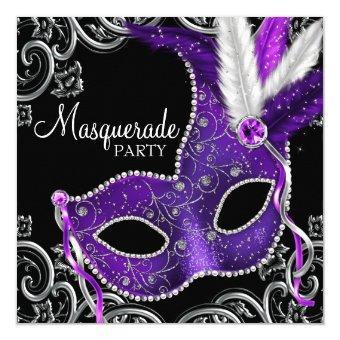 Elegant Purple and Black Masquerade Party