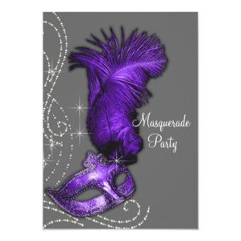 Elegant Purple and Gray Masquerade Party