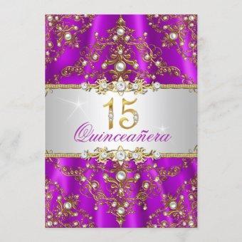 Elegant Purple Gold Pearl Damask