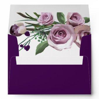 Elegant Purple Plum Rose Wedding Birthday Envelope