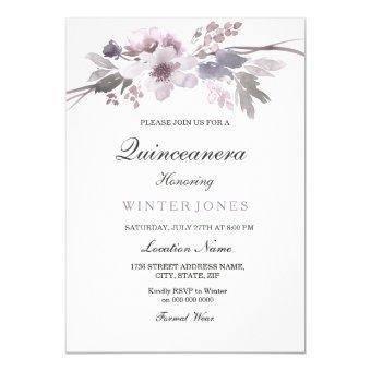 Elegant Purple Winter Floral Invite
