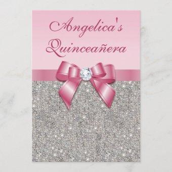 Elegant Quinceañera Faux Silver Sequins Pink Bow