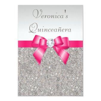 Elegant Quinceañera Silver Sequins Hot Pink Bow