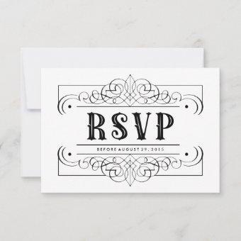 Elegant Quinceañera South Western Black and White RSVP Card