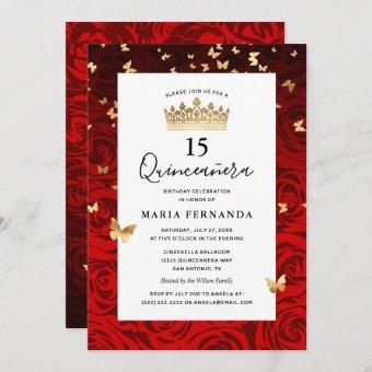 Elegant Red Black Gold Crown Floral