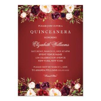 Elegant Red Burgundy Rose Invite