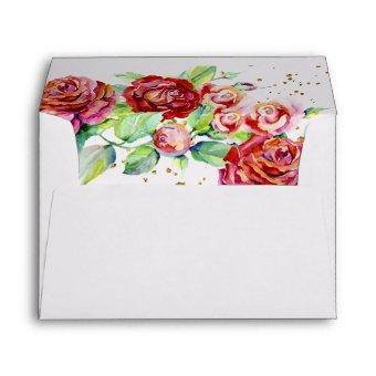 Elegant Red Pink Watercolor Floral Return Address Envelope