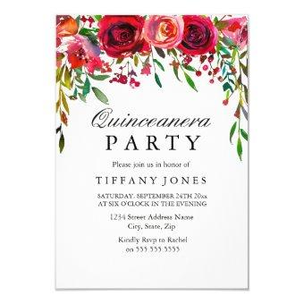 Elegant Red Rose Flower Party invite