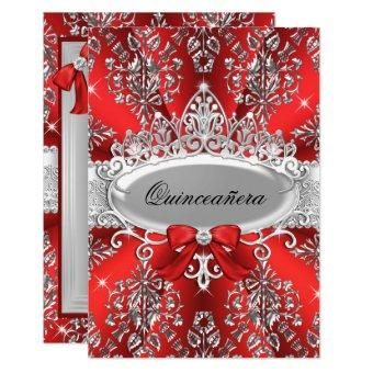 Elegant Red Silver Tiara Damask Invite