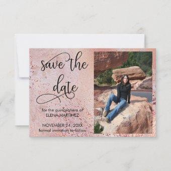 Elegant Rose Gold Faux Foil and Glitter Photo Save The Date