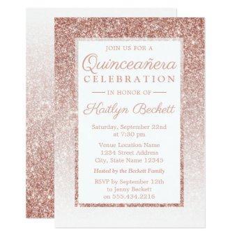 Elegant Rose Gold Glitter Quinceañera Birthday