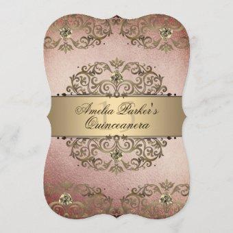 Elegant Rose Gold Vintage Damask