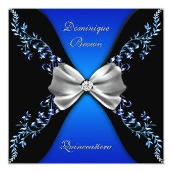 Elegant Royal Blue Black Diamond Bow