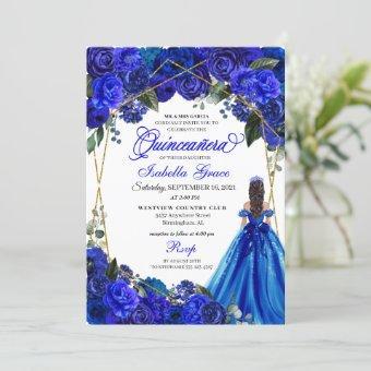 Elegant Royal Blue Floral Birthday