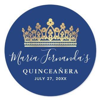 Elegant Royal Blue Gold Crown Classic Round Sticker