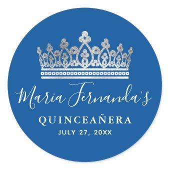 Elegant Royal Blue Silver Crown Classic Round Sticker