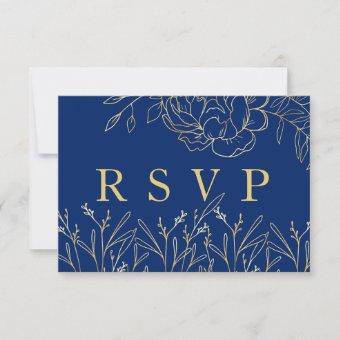 Elegant Royal Blue with Gold Sketched Flowers RSVP Card