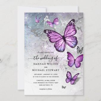 Elegant Silver and Purple Butterfly Wedding