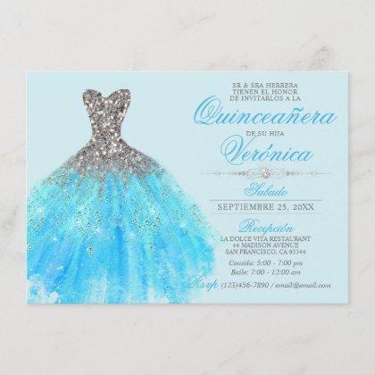 Elegant Spanish Quinceañera Mis Quince Blue