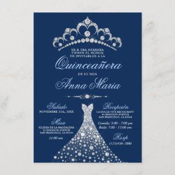 Elegant Spanish Quinceañera Mis Quince Navy Blue