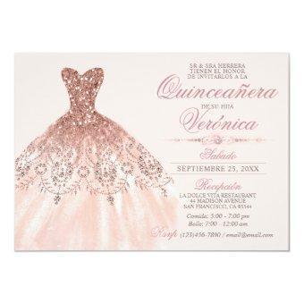 Elegant Spanish Quinceañera Mis Quince Pink Rose