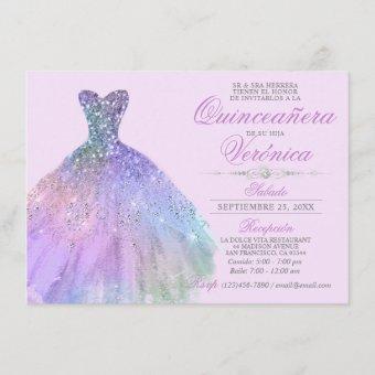 Elegant Spanish Quinceañera Mis Quince Purple