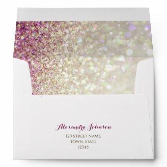 Elegant Sparkle Glitter Pink & Gold Return Address Envelope