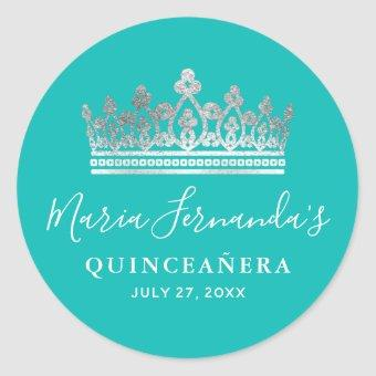 Elegant Teal Blue Silver Crown Name Classic Round Sticker