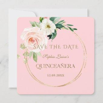 Elegant Unique Blush Cream Floral Gold Quinceañera Save The Date