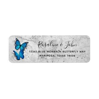 Elegant Watercolor Blue Butterfly Return Address Label