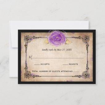 Elegant Watercolor Rose Rustic Gold Purple Wedding RSVP Card