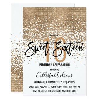 Elegant White Gold Glitter Confetti Ombre Sweet 16