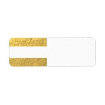 Elegant White Stripes Gold Foil Printed Label