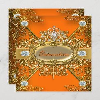 Elite Orange Gold Damask 15th Party