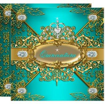 Elite Teal Blue Gold Damask 15th Party