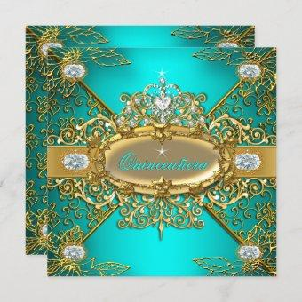 Elite Teal Blue Gold Damask 15th Party