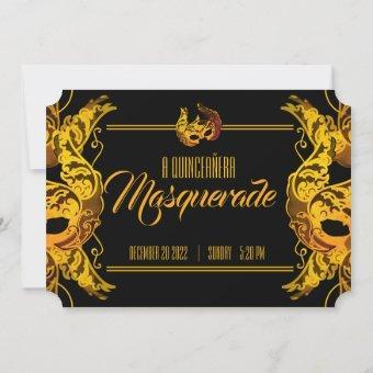 ENGLISH quinceañera MASQUERADE gold ticket