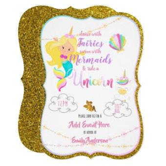 Fairy Mermaid Unicorn Gold Glitter