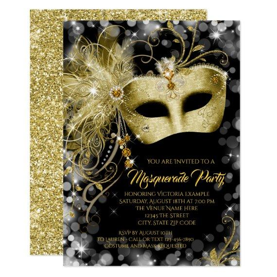 Fancy Black Gold Glitter Masquerade Party